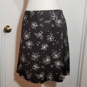 Rafaella Petites Skirt * 12P * Black w/ flowers